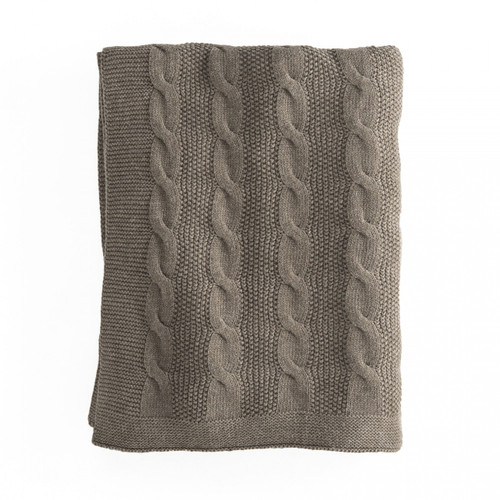 In 2 Linen Orlando Cable Knit Throw   Mocha