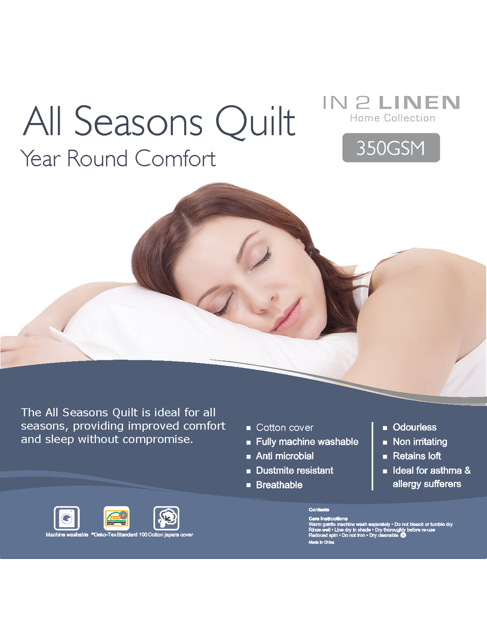 In 2 Linen All Seasons Double Bed Quilt | 350GSM