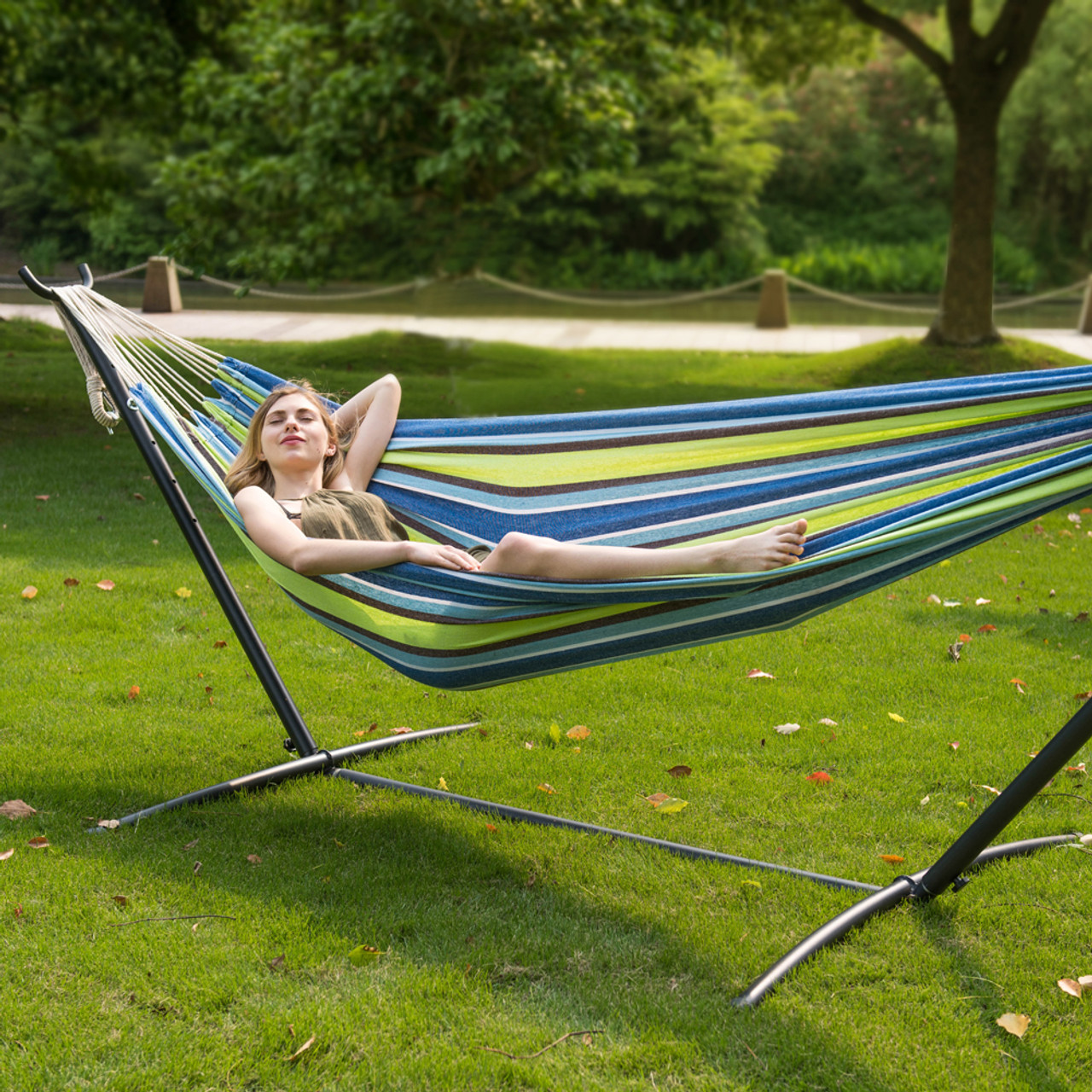 lazy daze hammocks double hammock with space saving steel stand includes portable carrying case 450 pounds capacity     daze hammocks double hammock with space saving steel stand      rh   lazydazehammocks
