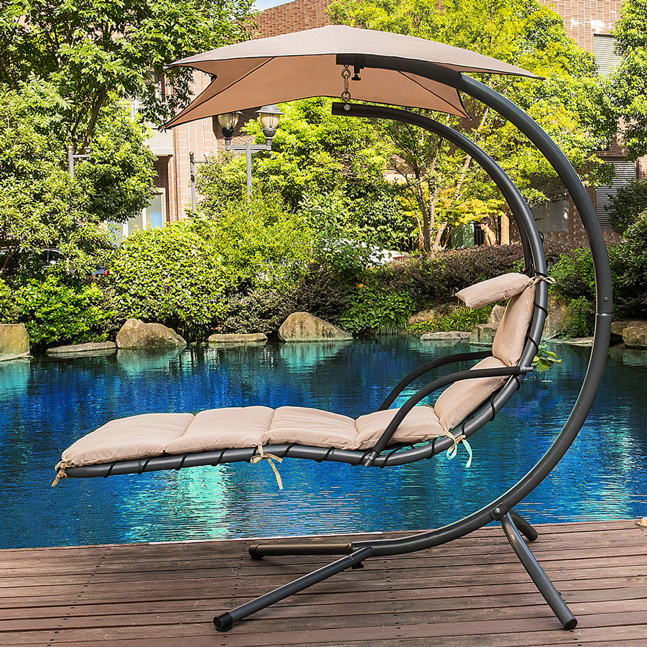 Lazy Daze Hammocks Dream Chair With Umbrella Hanging Chaise Lounge Chair  Arc Curved Hammock (Taupe)