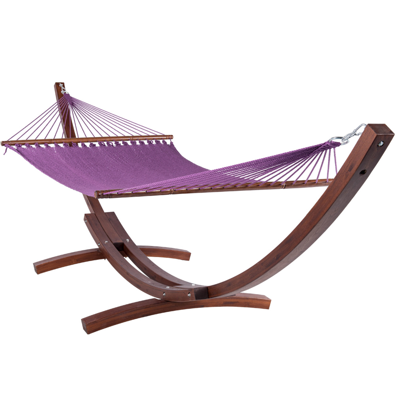 55 Inch Double Caribbean Hammock Hand Woven Polyester Rope Outdoor Handmade  Patio Swing Bed (Purple