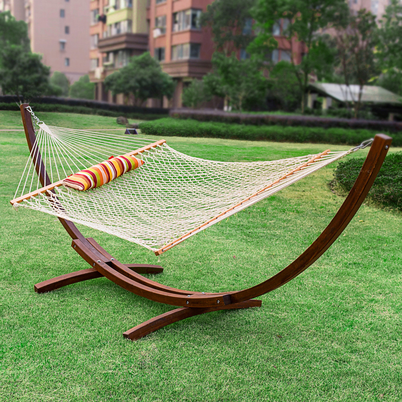 lazy daze hammocks 12feet wood arc hammock stand and hammock  bo cotton rope hammock with pillow and     daze hammocks 12feet wood arc hammock stand and hammock  bo      rh   lazydazehammocks