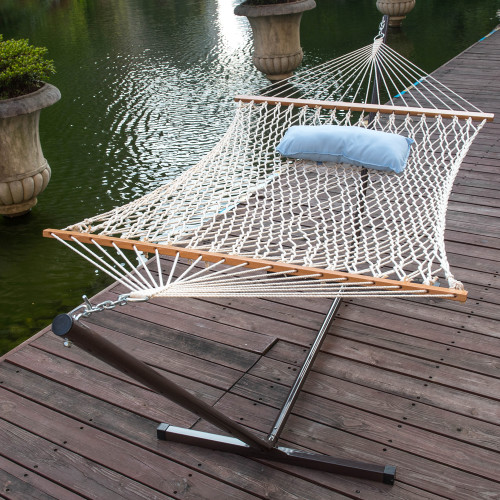 lazy daze hammocks 12 feet steel hammock stand with cotton rope hammock  bo quilted polyester hammock pad     daze hammocks 12 feet steel hammock stand with cotton rope hammock      rh   lazydazehammocks