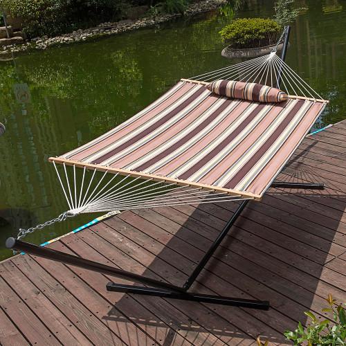 lazy daze hammocks 15 feet heavy duty steel hammock stand  two person quilted fabric hammock and pillow     daze hammocks 15 feet heavy duty steel hammock stand  two person      rh   lazydazehammocks