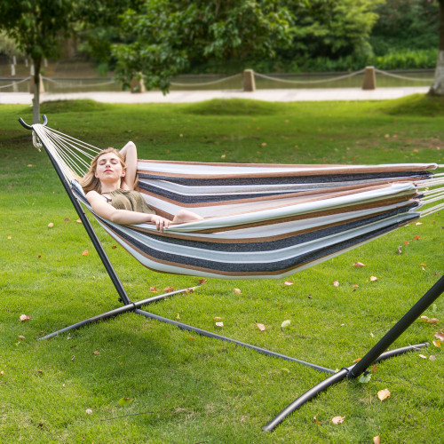 portable double size canvas hammock with spacing saving stand includes carry bag  desert stripe  double size canvas hammock with spacing saving stand includes      rh   lazydazehammocks