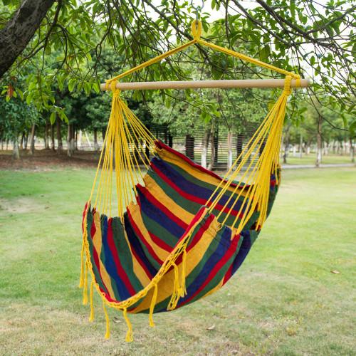 Lazy Daze Hammocks Canvas Hanging Hammock Swing Chair Seat With Wood  Spreader Bar (Tropical Stripe)