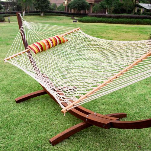 lazy daze hammocks 12feet wood arc hammock stand and hammock  bo cotton rope hammock with pillow and     daze hammocks 12feet wood arc hammock stand and hammock  bo      rh   lazydazehammocks