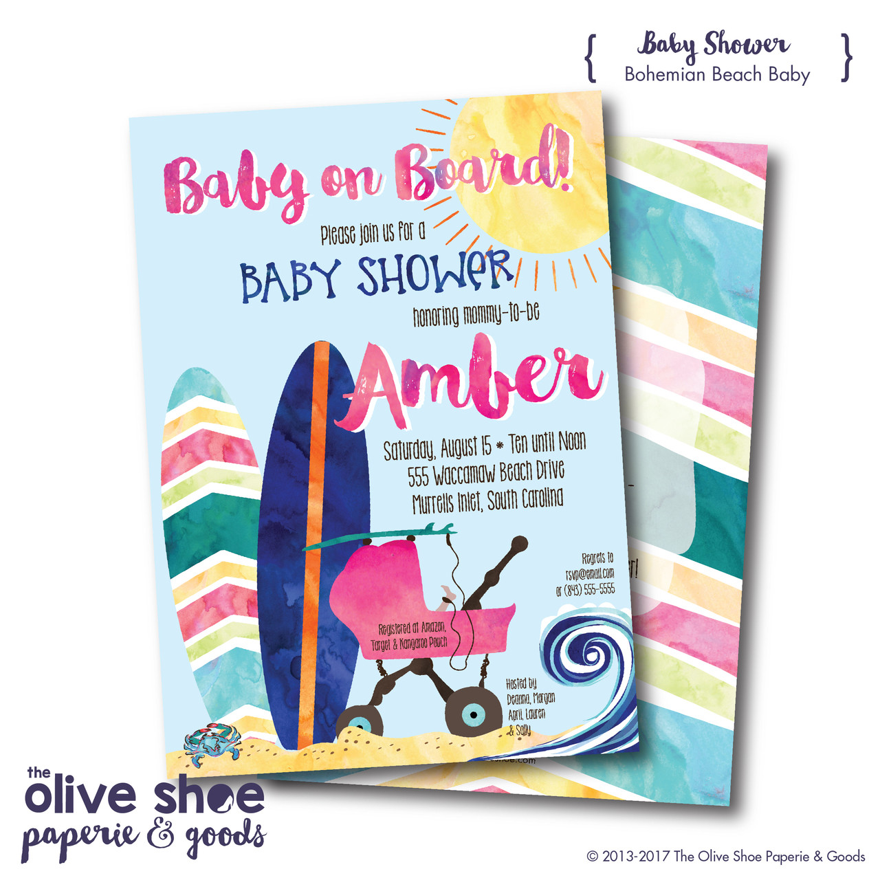 Bohemian Beach // Baby Shower Invitation - The Olive Shoe