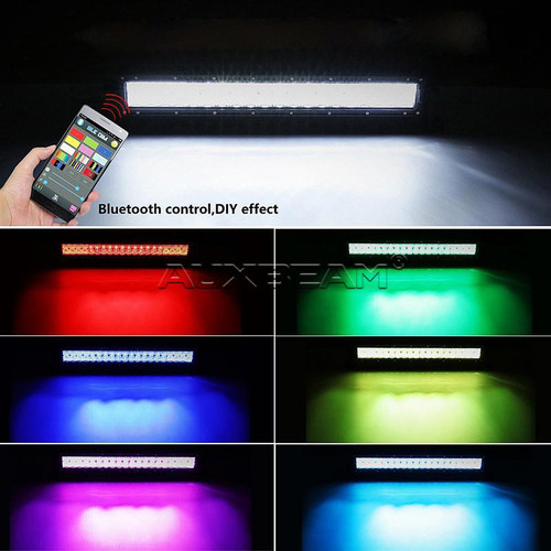 """AuxBeam V-Series 52"""" 300W Combo Curved RGB LED Light Bar (5D Projector Lens)"""