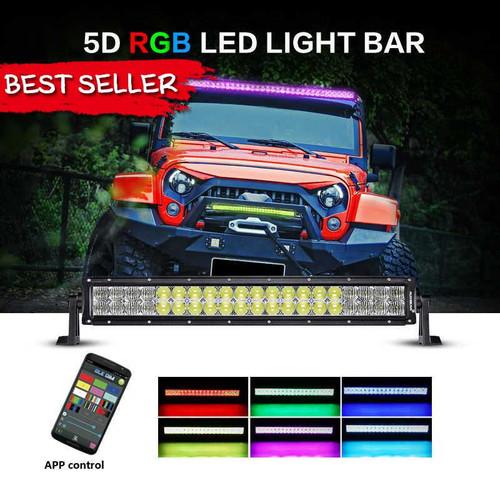 "AuxBeam V-Series 22"" 120W Combo Straight RGB LED Light Bar (5D Projector Lens)"