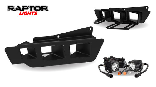 2017 Ford Raptor Triple Fog Light Bezel Kit w/KC HiLITES Flex Lights