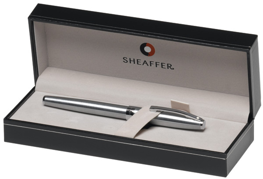Sheaffer Sagaris Brushed Chrome with Silver Trim Rollerball Pen in gift box
