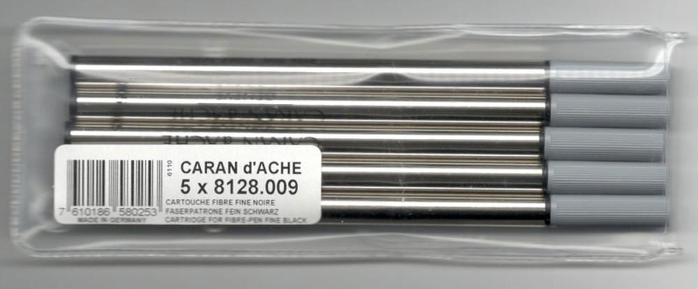 Caran d'Ache Black Fibre Ink Cartridge Fine Point 5 Pack