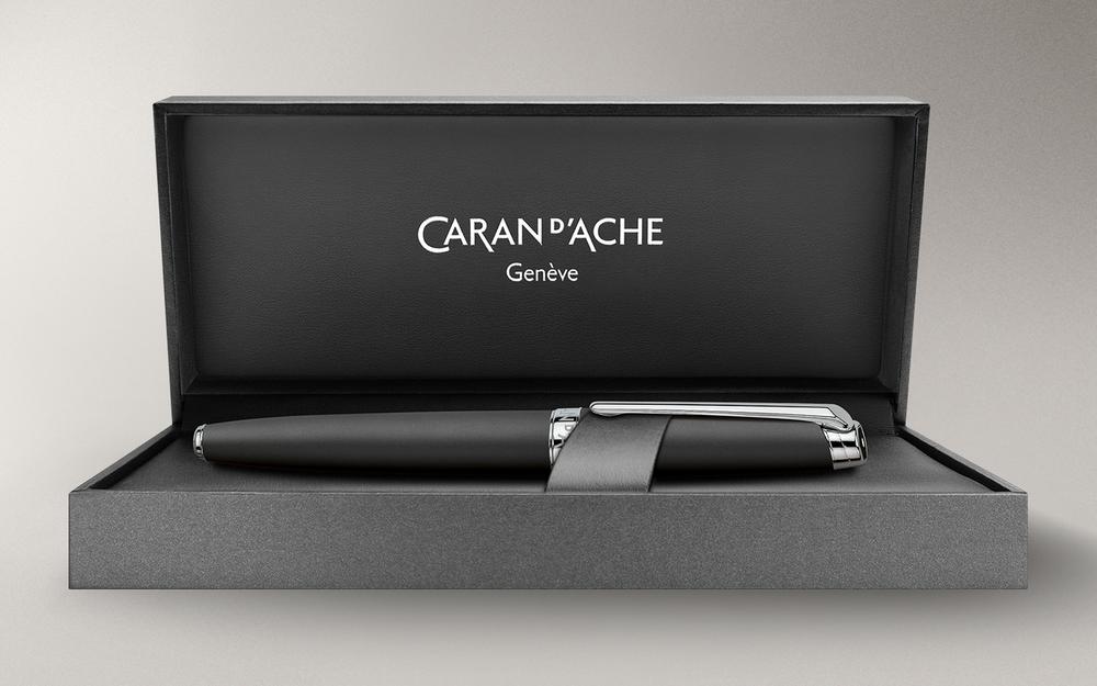 Caran d'Ache Leman Black Matte Silver-Plate Trim Fountain Pen Medium