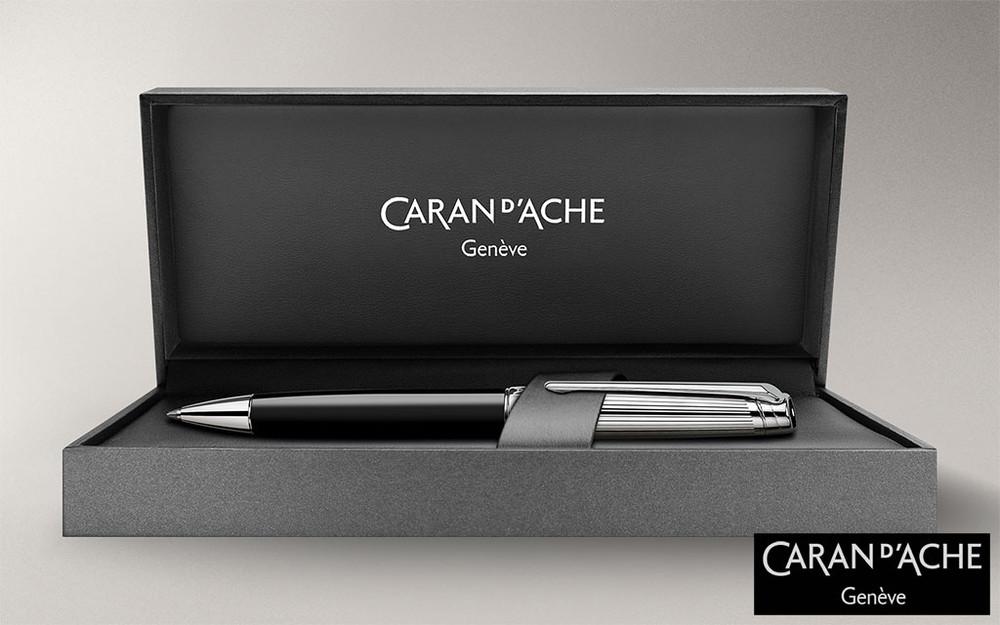 Caran d'Ache Leman Bicolor Black Silver-Plate Trim Ballpoint Pen