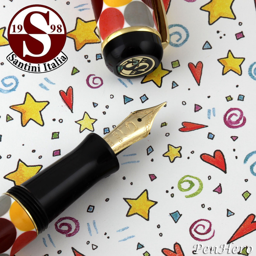 Santini Italia Pois Rust Yellow Brown Polka Dots Fountain Pen Medium