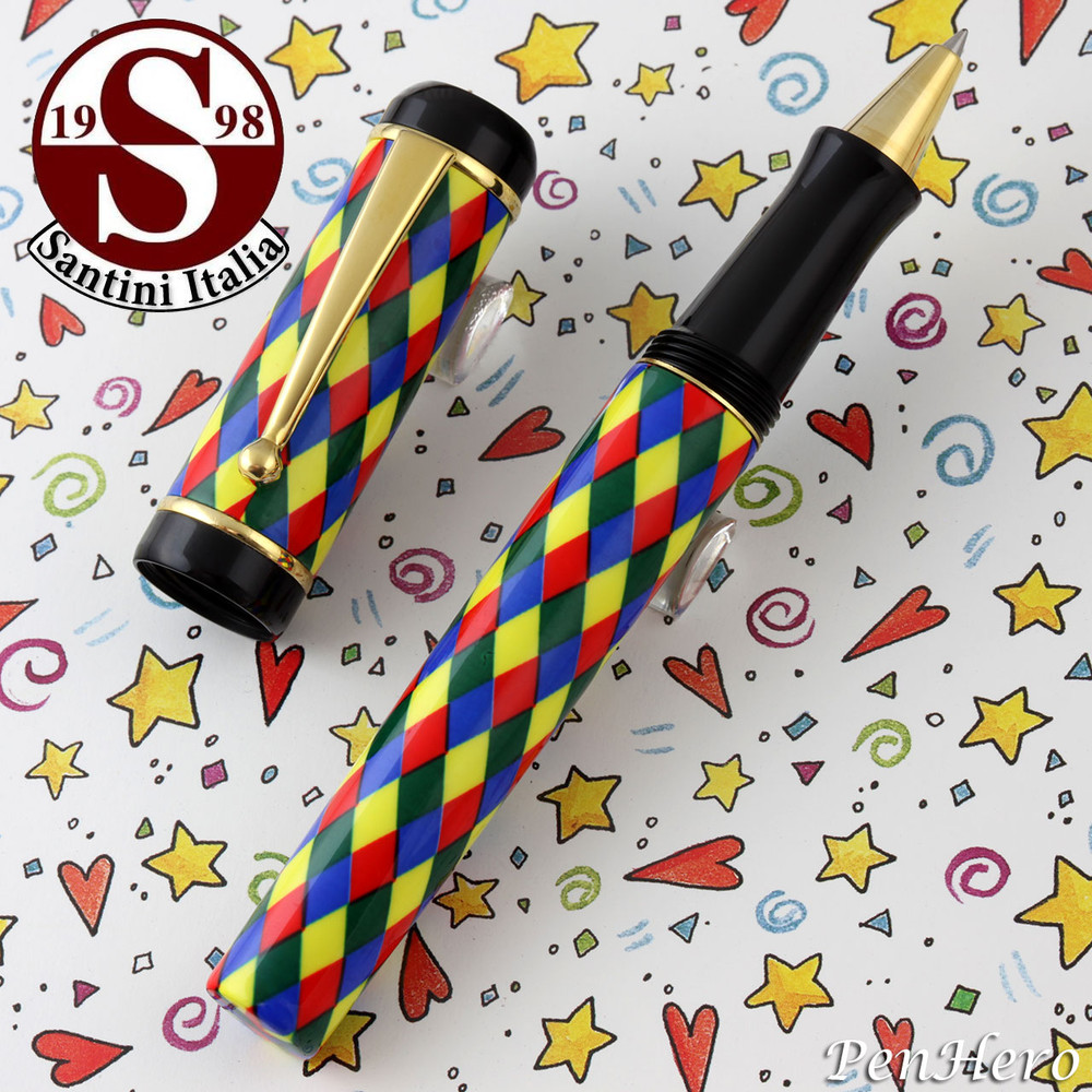 Santini Italia Arlecchino Blue Red Yellow Green Harlequin Rollerball Pen