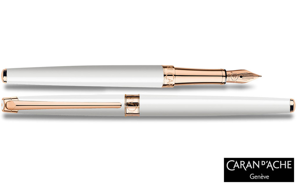 Caran d'Ache Leman Slim White Rosegold Fountain Pen