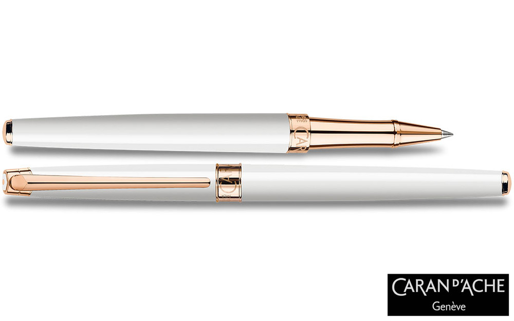 Caran d'Ache Leman Slim White Rosegold Rollerball Pen