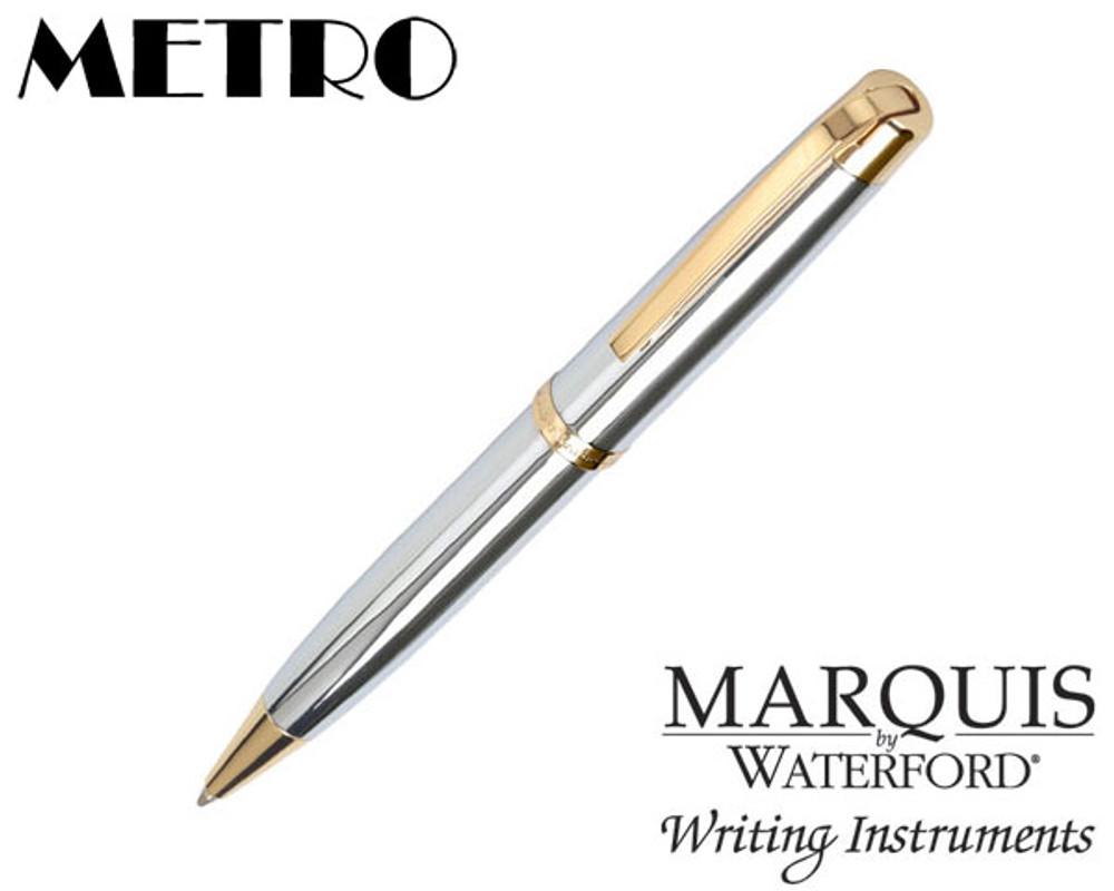 Waterford Marquis Metro Chrome / Gold Plate Trim Ballpoint Pen