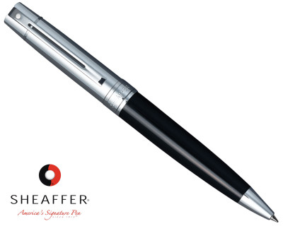 Sheaffer 300 Chrome Cap / Glossy Black Ballpoint Pen