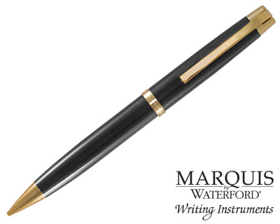 Waterford Marquis Metro Black / Gold Plate Trim Ballpoint Pen