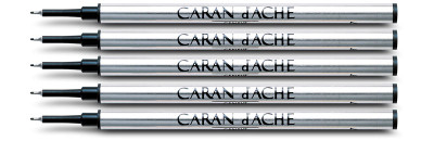 Caran d'Ache Black Fibre Ink Cartridge Medium Point 5 Pack