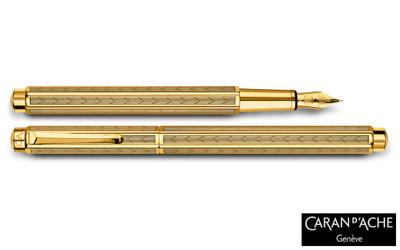 Caran d'Ache Ecridor Chevron Gold Fountain Pen Medium