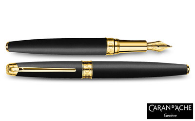Caran d'Ache Leman Black Matte Gold-Plate Trim Fountain Pen Fine