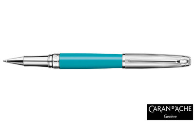 Caran d'Ache Leman Bicolor Turquoise Silver-Plate Trim Rollerball Pen