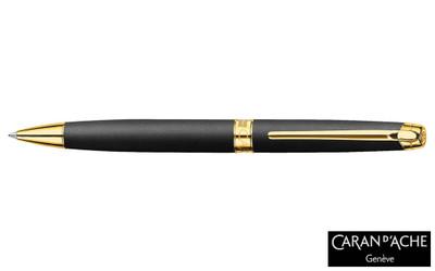 Caran d'Ache Leman Black Matte Gold-Plate Trim Ballpoint Pen