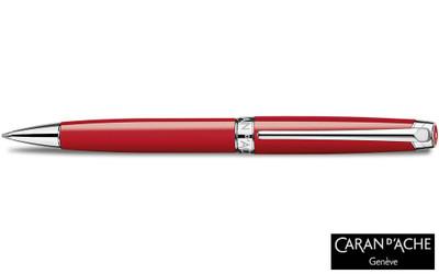Caran d'Ache Leman V2 Scarlet Red Silver-Plate Trim Ballpoint Pen