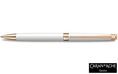 Caran d'Ache Leman Slim White Rosegold Ballpoint Pen