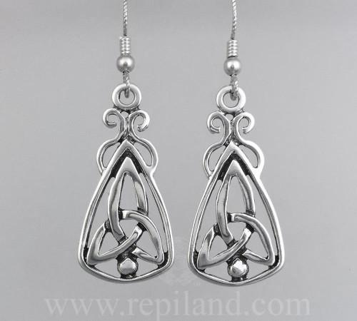 Mairsinn Earrings, triskele and bead in large triangular drop.