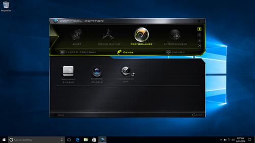 Eluktronics P650 Control Center Options