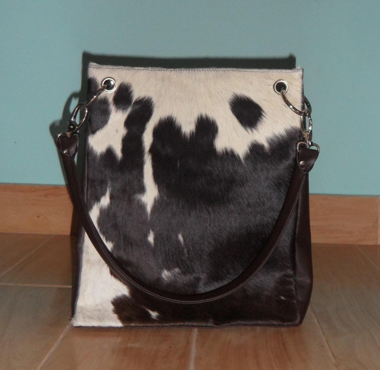 Black And White Handmade Cowhide Bucket Purse