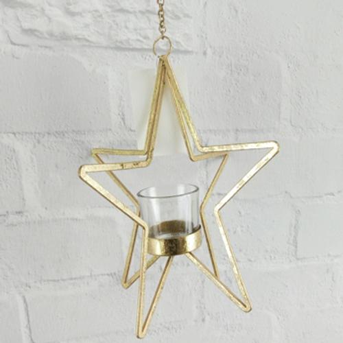 SKU238 3D Star TeaLight Holder - Gold 23.5x21x21cm