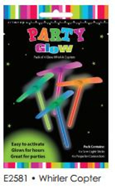 GLOW FAVOURS WHIRL-A-COPTER 4PK