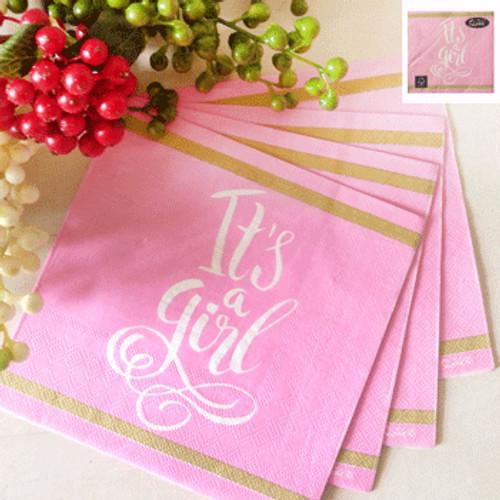 *16pk 33x33cm Baby Shower Lunch Napkin in Pink