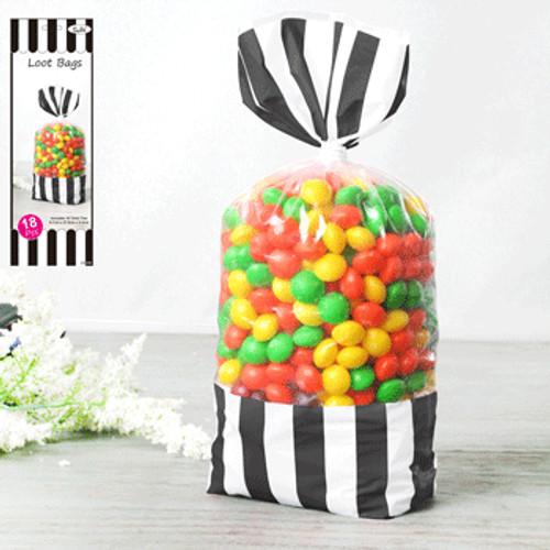 * 18pk 8.7x27.8cm Stripe Loot Bag - Black