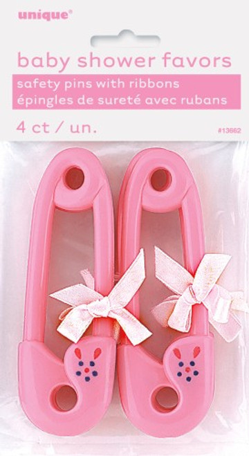 "4 RIBBON BABY PINS 4-1/2"" PINK"