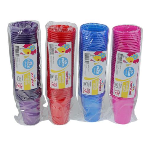 PK40 PLASTIC CUPS 200ml (Coloured)