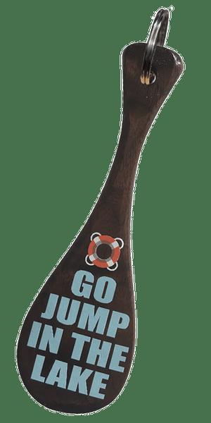 "5"" Black Walnut Go Jump in the Lake Mini Paddle Keychain"