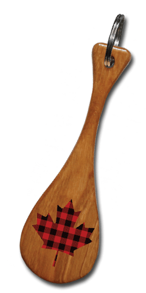 Plaid Maple Leaf Mini Paddle Keychain