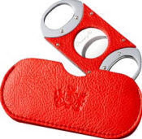 Double Guillotine Red Leather  Cigar Cutter