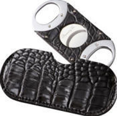 Double Guillotine Crocodile Black Cigar Cutter