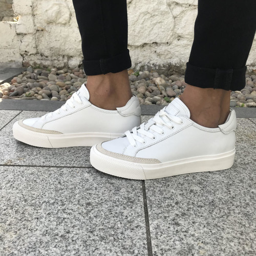 Army Low Trainer in  White Leather