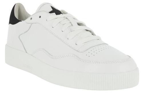 White trainers with black suede star