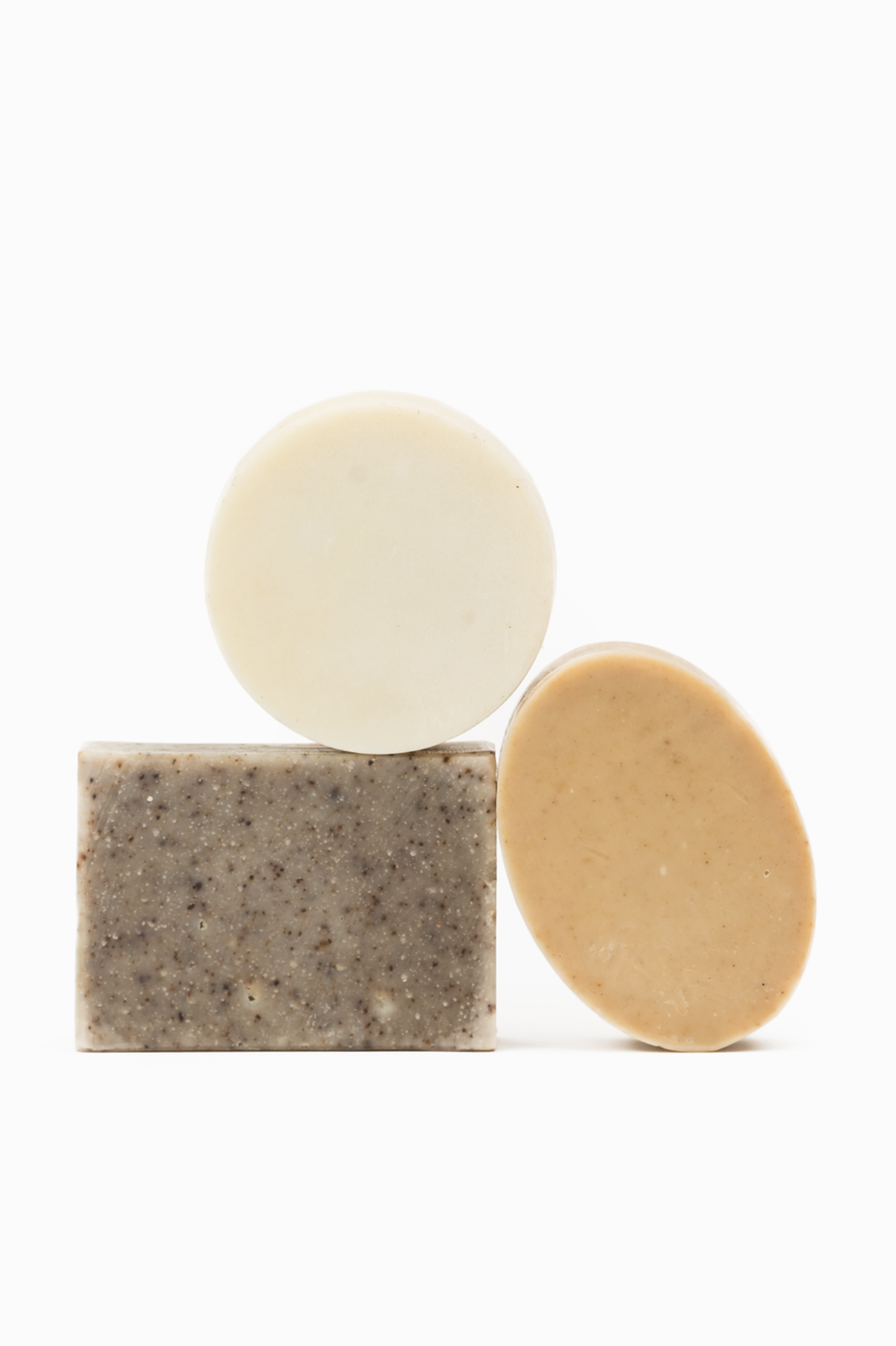 Handcrafted hand & body soaps.   Rectangle - Shea Butter Soap Ingredients: extra virgin olive oil, palm oil, unrefined extra virgin coconut oil, unrefined shea butter, sodium hydroxide, alkanet root, sodium lactate naturally derived from beets, purified water  Circle - Kaolin Clay Soap Ingredients: extra virgin olive oil, palm oil, unrefined extra virgin coconut oil, sunflower oil, unrefined shea butter, castor oil, sodium hydroxide, white kaolin clay, sodium lactate naturally derived from beets, purified water  Oval - Aloe Soap Ingredients: extra virgin olive oil, palm oil, unrefined extra virgin coconut oil, unrefined shea butter, sodium hydroxide, aloe, sodium lactate naturally derived from beets, purified water