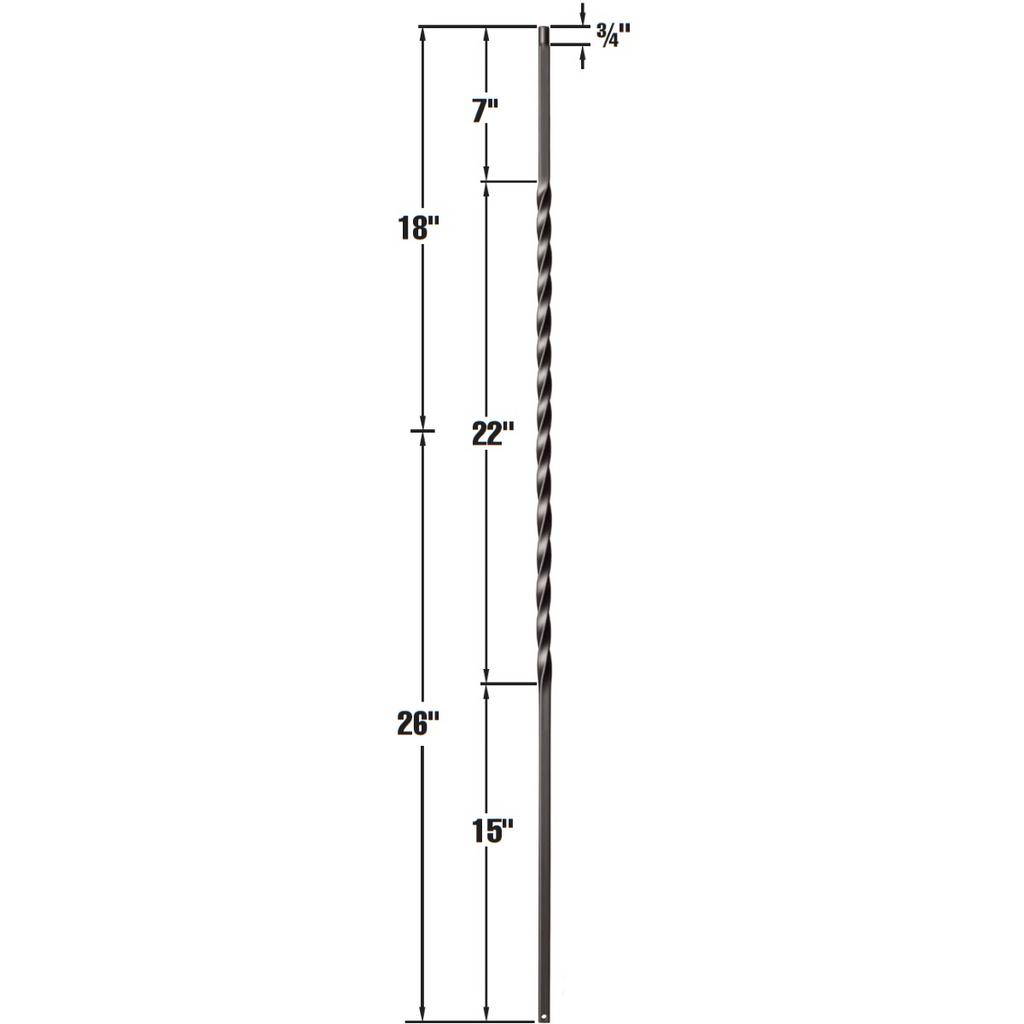 wrought iron baluster long elegant twist